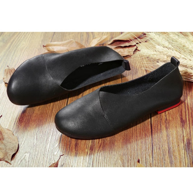 2020 Woman Hand-sewn Leather Loafers Cowhide Flexible Casual Shoes