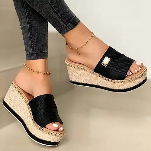 2021 Women Summer Wedge Slippers Platform Beach Sandals Ladies Slippers