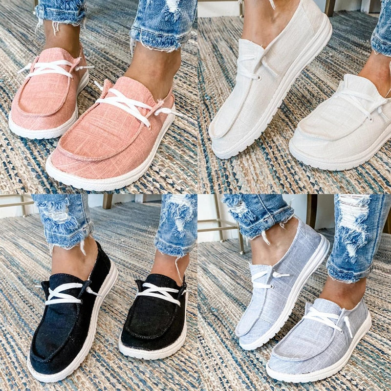 2020 Large Size Women Canvas Flats Vulcanize Shoes