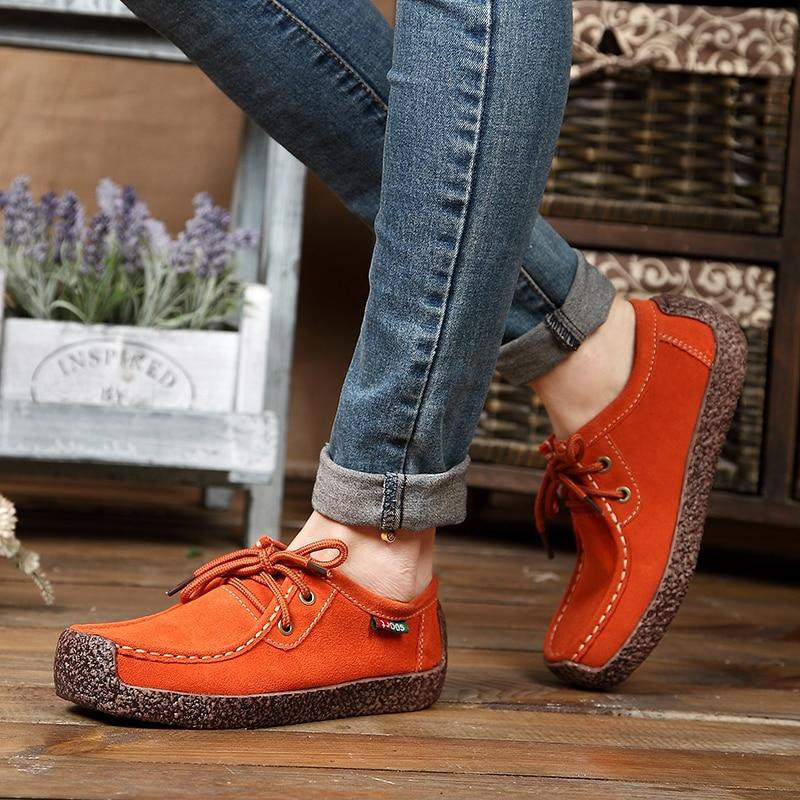Classic Genuine Leather Lace Up Flat Shoes
