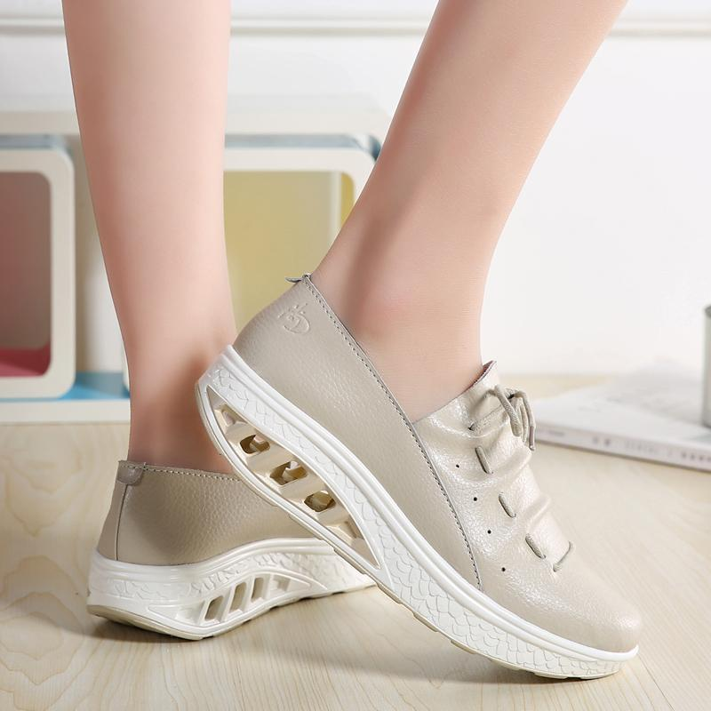 Women Rocker Sole Lace Up Leather Shoes