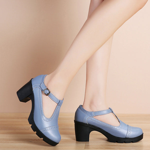 Women's Leather Classic T-Strap Platform Chunky Mid-Heel Square Toe Oxfords Dress Pump Shoes