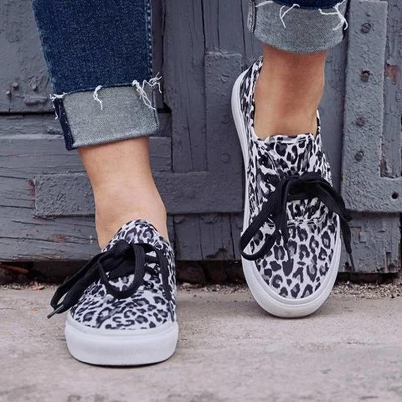 Women Athletic Canvas Sneakers Leopard Print Walking Shoes