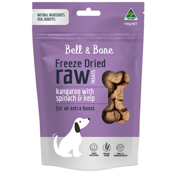Freeze Dried Raw Dog Treats: Kangaroo with Spinach and Kelp