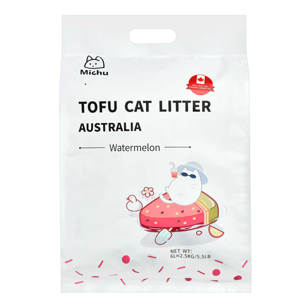 Furrytail Michu Natural Clumping Tofu Cat Litter 2.5kg - Watermelon