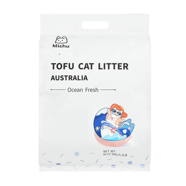 Furrytail Michu Natural Clumping Tofu Cat Litter 2.5kg - Ocean Fresh