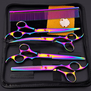 5pcs Stainless Steel Pet Grooming Scissors & Cutting Set - E4PetLife