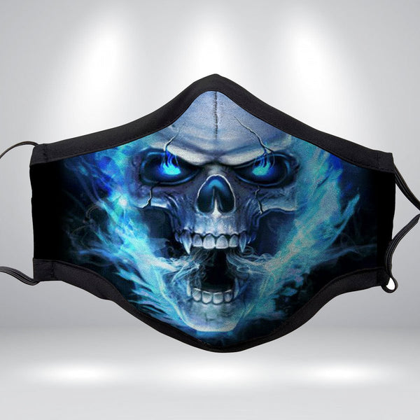 BLUE TOXIC SKULL Fabric Face Mask