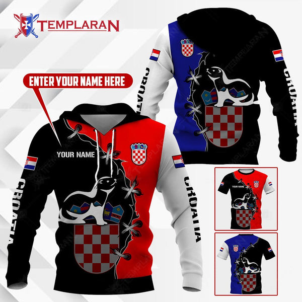 CROATIA PINE WEASEL HOODIES AND T-SHIRTS 3D Full Printing
