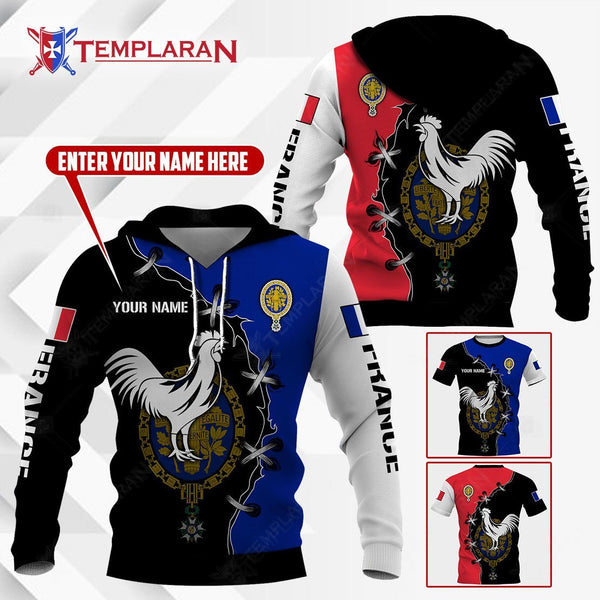 FRANCE GALLIC ROOSTER HOODIES AND T-SHIRTS 3D Full Printing