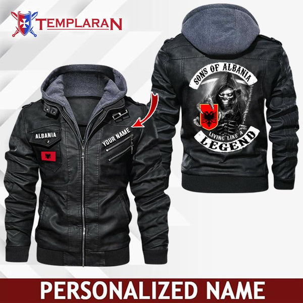Albania Leather Jacket Hoodie