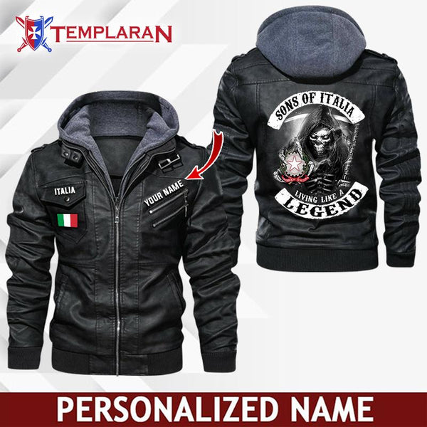 Italia Leather Jacket Hoodie