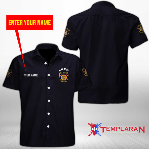 Personalizer Name Los Angeles Fire Department (California )   Button Shirt 3D Full Printing TDH