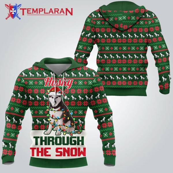 Husky Christmas 3D Full Printing Hoodie Limited Edition