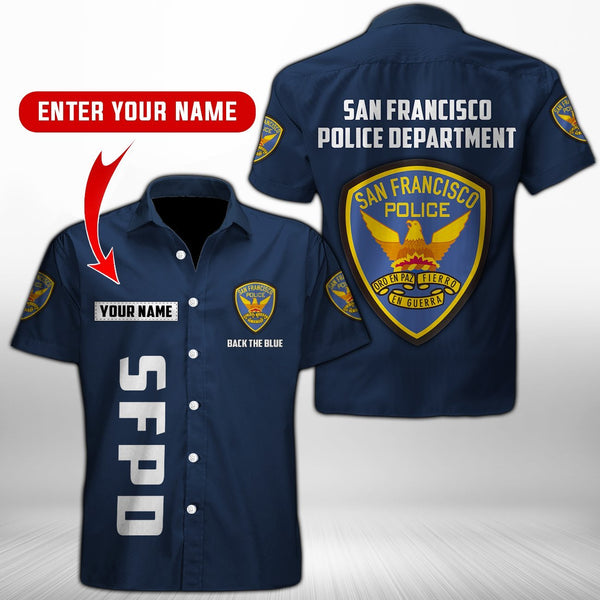 San Francisco Police Department Button Shirt 3D Full Printing