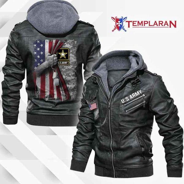 U.S ARMY Leather Jacket Hoodie