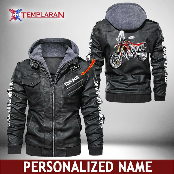 Dual-sport motorcycle Leather Jacket Hoodie