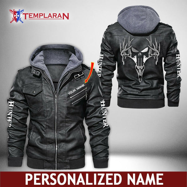 Hunter Leather Jacket Hoodie