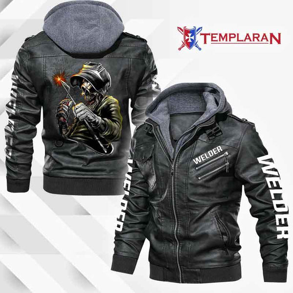 Welder job Leather Jacket Hoodie
