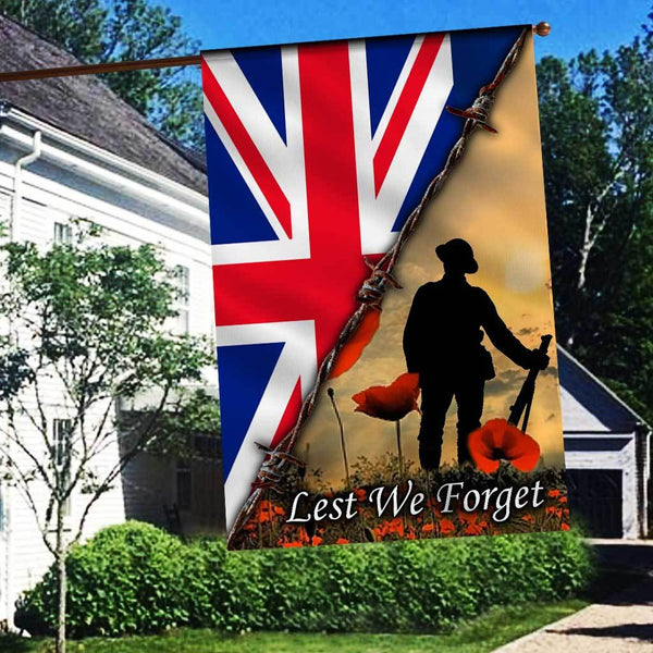 ANZAC DAY LEST WE FORGET BRITISH Flag 3D Full Printing
