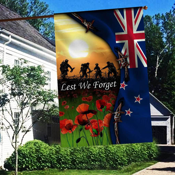 ANZAC DAY LEST WE FORGET VETERAN POPPY NEW ZEALAND Flag 3D Full Printing