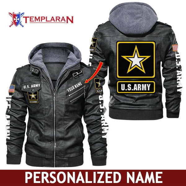 U.S. Army Leather Jacket Hoodie