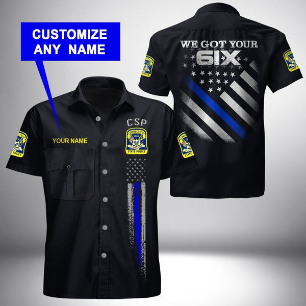 PERSONALIZED NAME Connecticut State Police   Button Shirt 3D Full Printing