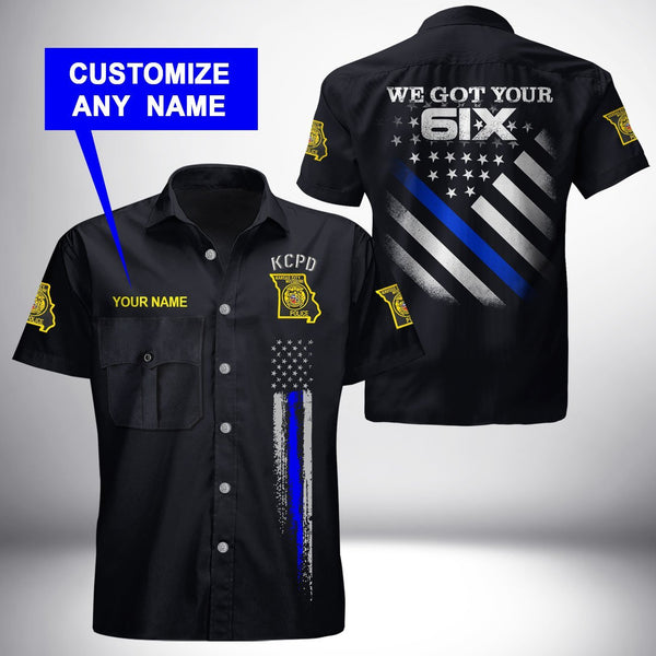 PERSONALIZED NAME Kansas City Police Department Button Shirt 3D Full Printing