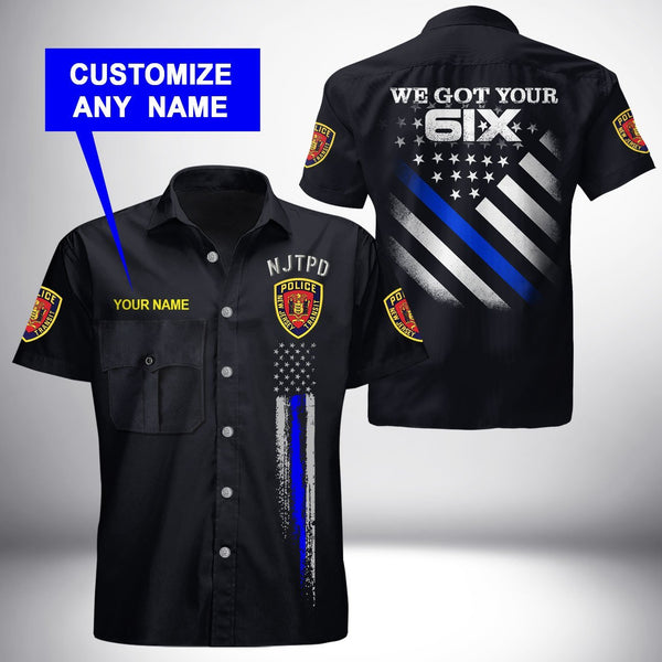 PERSONALIZED NAME New Jersey Transit Police Department Button Shirt 3D Full Printing