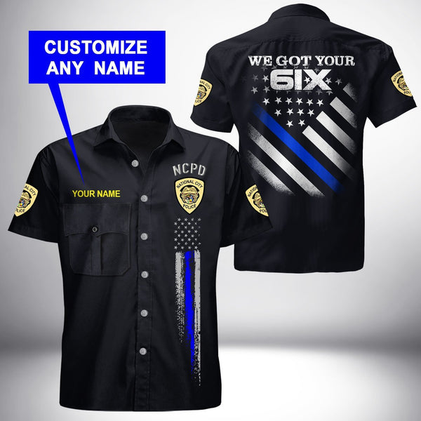 PERSONALIZED NAME National City Police Department Button Shirt 3D Full Printing