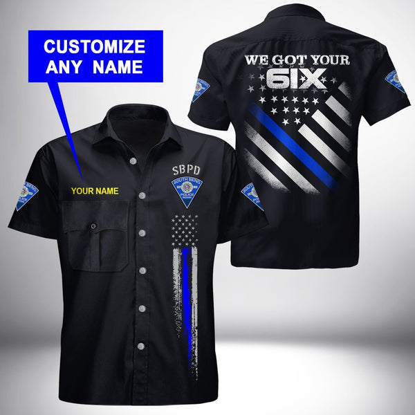 PERSONALIZED NAME South Bend Police Department  Button Shirt 3D Full Printing