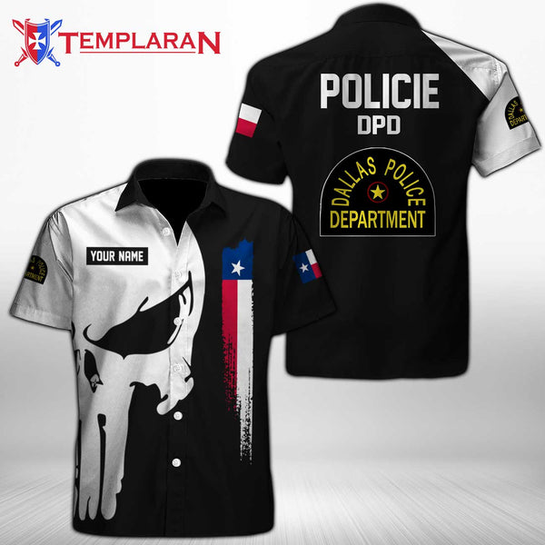 PERSONALIZED NAME  Dallas Police Department Button Shirt 3D Full Printing