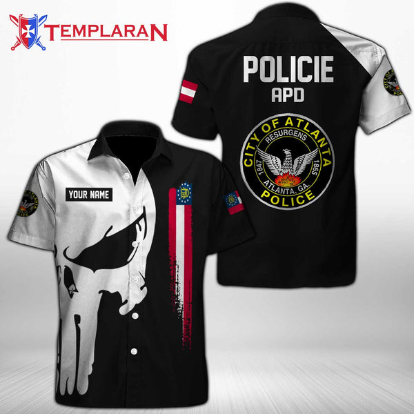 PERSONALIZED NAME Atlanta Police Department Button Shirt 3D Full Printing