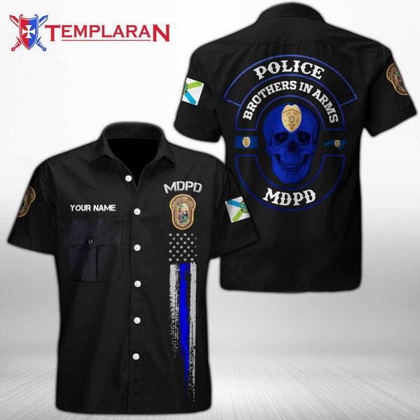 Personalizer Name  Miami-Dade Police Department Button Shirt 3D Full Printing TDH