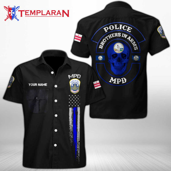 Personalizer Name Metropolitan Police Department  Button Shirt 3D Full Printing TDH