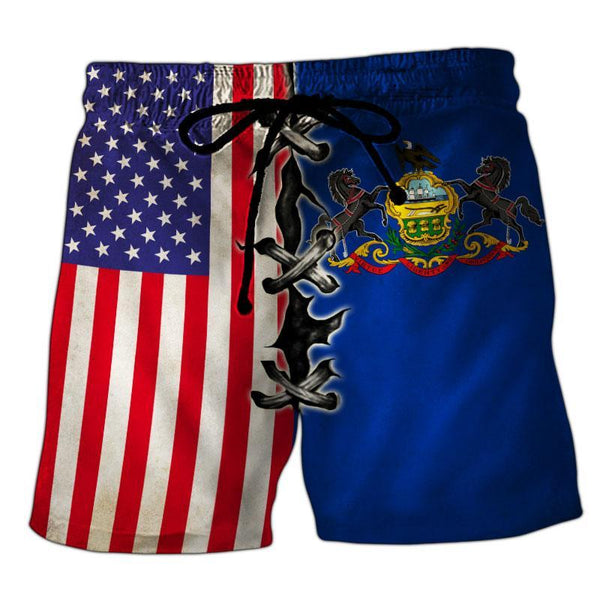 Pennsylvania Flag 3D Short Pant Full Printing