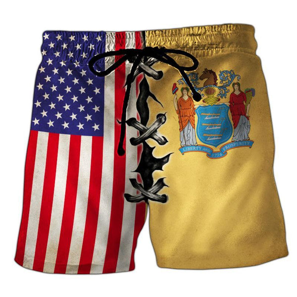 New Jersey Flag 3D Short Pant Full Printing