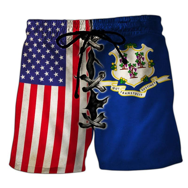Connecticut Flag 3D Short Pant Full Printing