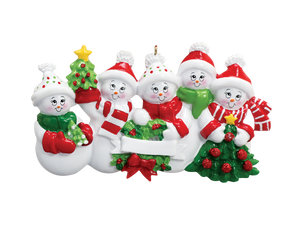 5 Snowmen Ornament