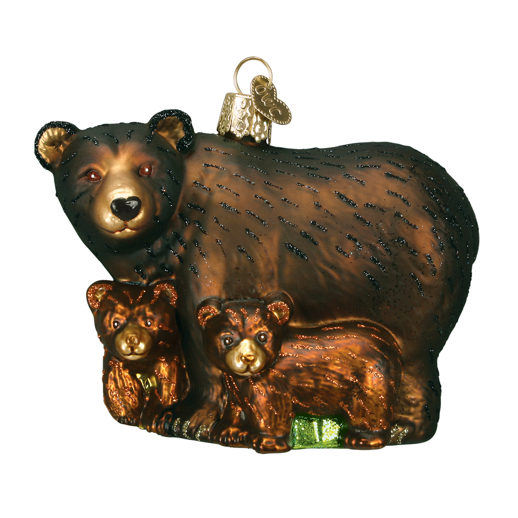 Bear with Cubs Christmas Ornament