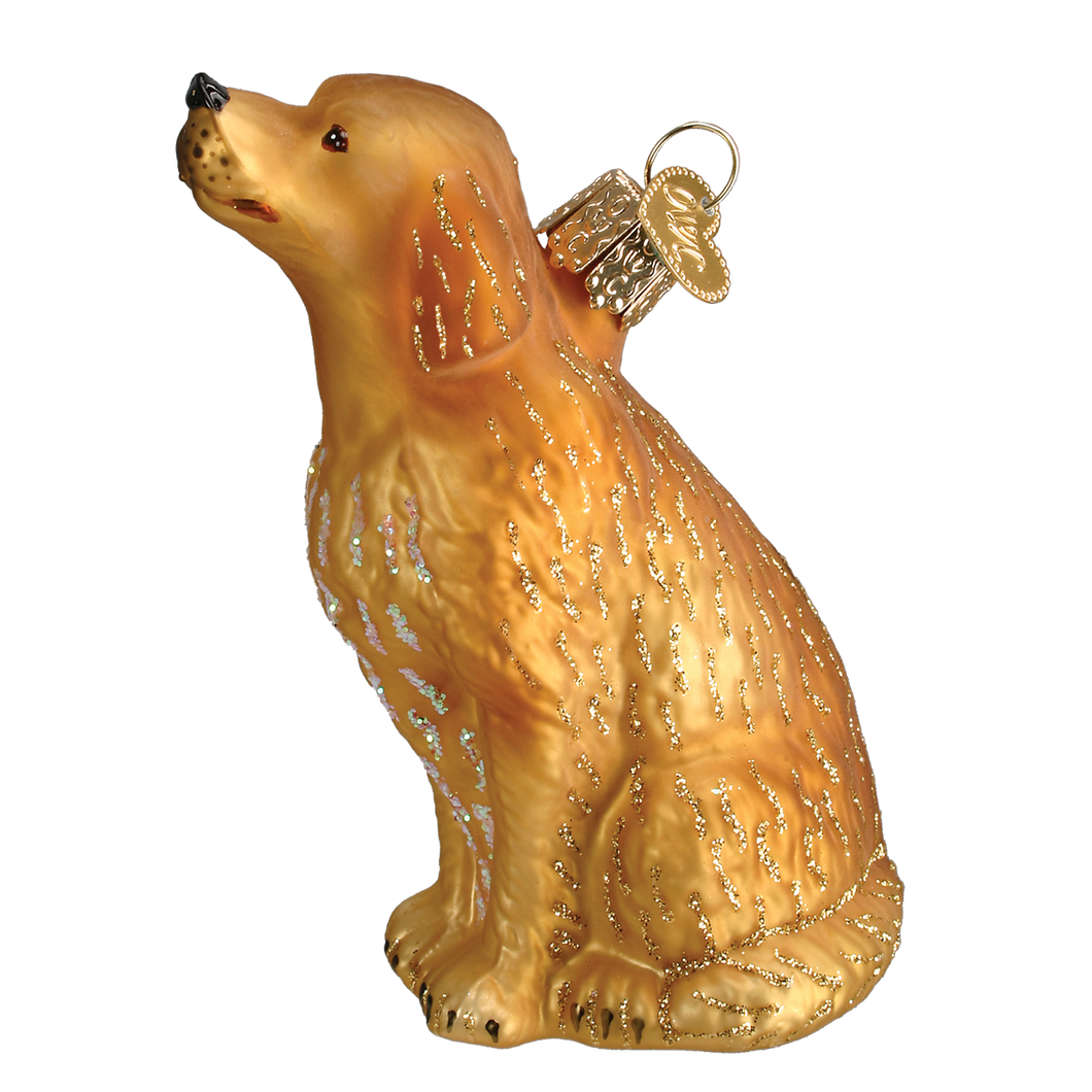 Sitting Golden Christmas Ornament