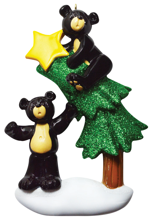 Black Bear In Tree Christmas Ornament