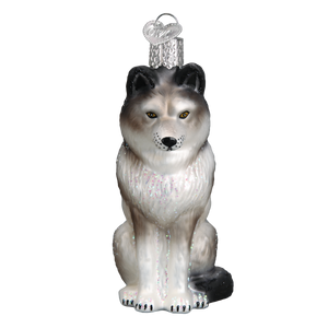 Sitting Wolf Christmas Ornament