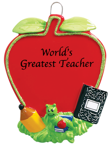 Worlds Greatest Teacher Apple Christmas Ornament