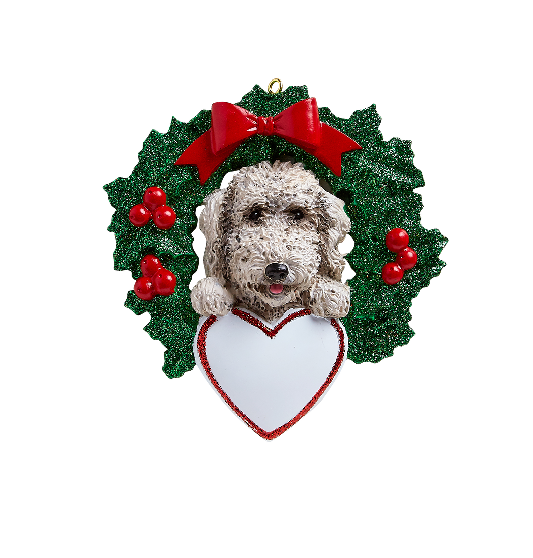 Labradoodle With Wreath