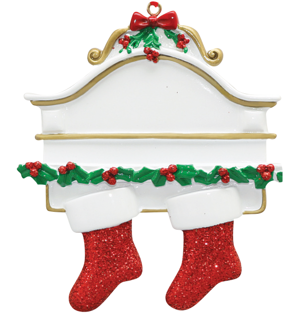 2 Stockings on a Mantle Ornament