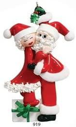 Santa Couple with Red Lips Mistletoe Couple Christmas Ornament