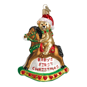 Rocking Horse Teddy Christmas Ornament
