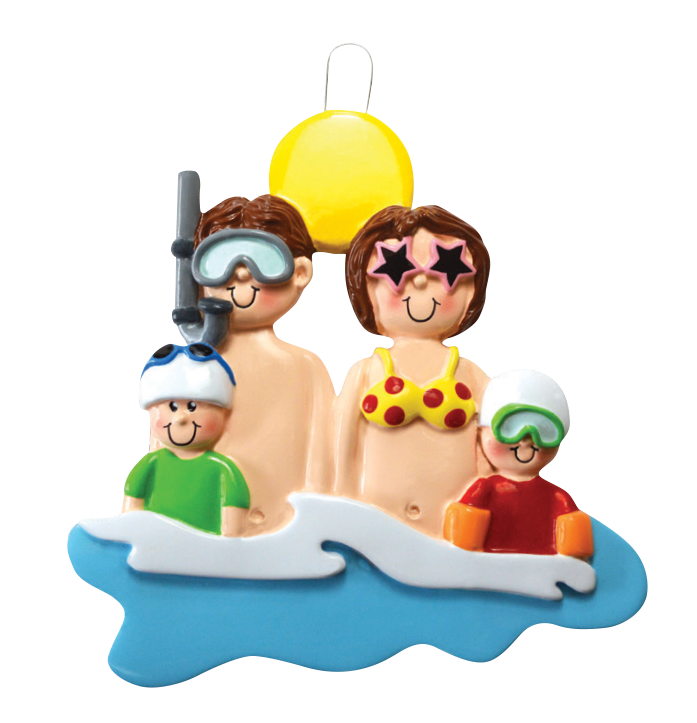 At The Beach Family Of 4 Ornament
