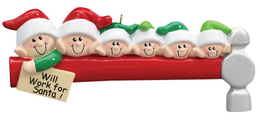 Elves Family of 6 Ornament